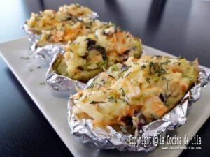 Patatas rellenas de marisco