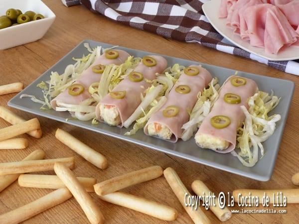 Canelones fríos de jamón cocido